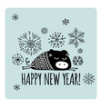 christmas card with funny pig symbol of 2019 year vector image vector image