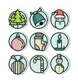 christmas vinyl sticker icons vector image