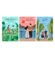 collection cards with cute romantic couples vector image vector image