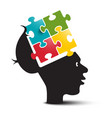 colorful puzzle in human brain open head with vector image