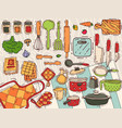 cooking equipment kitchenware or cookware vector image vector image