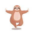 cute cartoon sloth standing in yoga pose sloth vector image