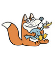 cute happy fox and a frightened fat duck vector image