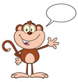 cute monkey cartoon character waving for greeting vector image vector image