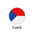 czech flag round flat icon european country vector image vector image