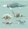 dinosaurs skeletons silhouettes set fossil bone vector image vector image