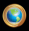 earth in golden medallion vector image vector image