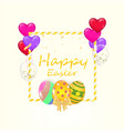 easter sale banner garland of painted easter eggs vector image