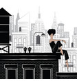 fashion girl in style sketch in new york vector image