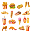 Fast Food Menu Colorful Icons Set vector image vector image