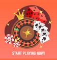 flat casino gambling concept set with win vector image
