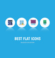 flat icon glass set of frame glazing balcony and vector image vector image
