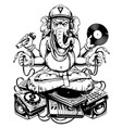 ganesha dj sitting on electronic musical stuff vector image vector image
