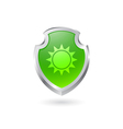 Green shield with the sun vector image vector image