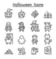 halloween icon set in thin line style vector image vector image