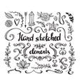 hand drawn vintage floral elements set flowers vector image vector image
