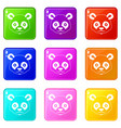 head of panda icons 9 set vector image vector image
