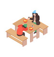 homeless eating food composition vector image