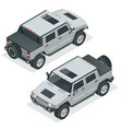 isometric pickup truck highly detailed off-road vector image vector image