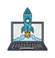 laptop rocket start up success business vector image vector image