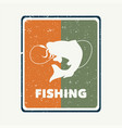 logo design fishing with cat fish silhouette vector image