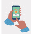 male hands hold smartphone with lock screen vector image vector image