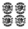 motorcycle vintage monochrome prints set vector image vector image