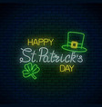 neon glowing sign of happy st patrick day text vector image