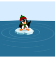 Penguin on an ice floe in the sea vector image