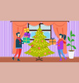 people at christmas at home vector image vector image
