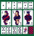 poker playing cards club suit set vector image vector image