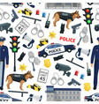 police crime and law seamless pattern vector image