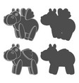 set with a toy hippo with wings vector image vector image