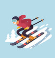 smiling cartoon skiing downhill vector image vector image
