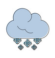 snowflakes falling from cloud winter icon image vector image