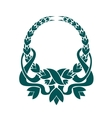 Teal colored foliate circular wreath vector image vector image