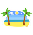 tropical beach with palms coconut trees on a hot vector image vector image