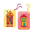 Two colorful label depicting houses in cartoon vector image vector image