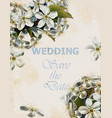 wedding card with cherry flowers beautiful vector image vector image