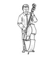 young man playing double bass vector image