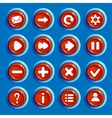 Cartoon red round buttons with web icons vector image