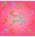 Christmas background with collection of candy cane vector image