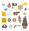 Flat design pirate items vector image