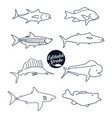 fish icons editable outline vector image