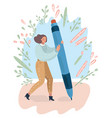 a young woman stands with a huge pencil vector image