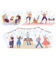 active seniors elderly people training in vector image