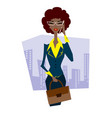 african woman with briefcase talking on phone vector image