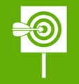 arrow in the center of target icon green vector image vector image