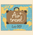 banner for air travel with brown suitcase and map vector image vector image