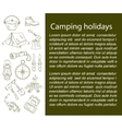 Camping holiday card with line icons vector image vector image